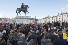 LYON, FRANKREICH - 11. JANUAR 2015: Terroristenbekämpfungsprotest 9 Lizenzfreies Stockbild