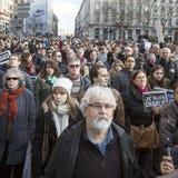 LYON, FRANKREICH - 11. JANUAR 2015: Terroristenbekämpfungsprotest 8 Stockfotografie