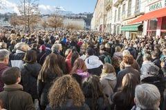 LYON, FRANKREICH - 11. JANUAR 2015: Terroristenbekämpfungsprotest 6 Stockbilder