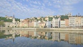 Lyon, Frankrijk bij dageraad Stock Foto's