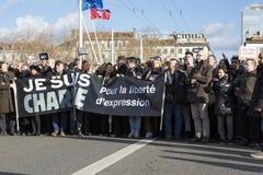 LYON, FRANKRIJK - JANUARI 11, 2015: Antiterrorismeprotest 2 Stock Afbeeldingen