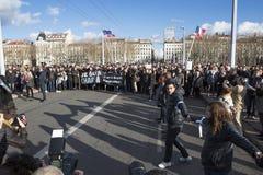 LYON, FRANKRIJK - JANUARI 11, 2015: Antiterrorismeprotest 3 Royalty-vrije Stock Foto