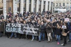 LYON, FRANKRIJK - JANUARI 11, 2015: Antiterrorismeprotest Stock Afbeelding
