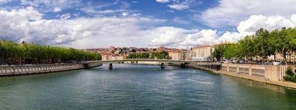 Lyon Frankrike flod Saone Royaltyfri Bild
