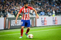LYON FRANKRIKE - 16 Maj, 2018: Diego Costa under finalUEFAEN E Royaltyfria Foton