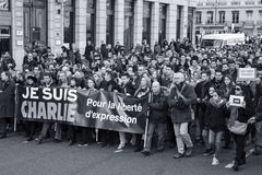 LYON 11 JANUARI, 2015: Antiterrorismeprotest Stock Fotografie