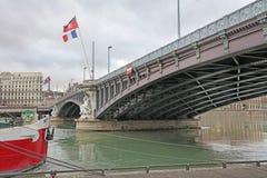 Lyon Lafayette bro över floden Rhone Royaltyfria Foton