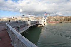 Lyon Lafayette bro över floden Rhone Arkivfoton
