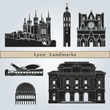Lyon landmarks and monuments. On blue background in editable vector file Stock Photo