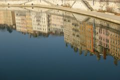 Lyon mirrored Royalty Free Stock Image
