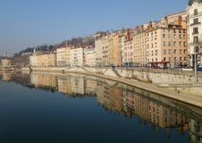 Lyon mirrored in the water Stock Photos