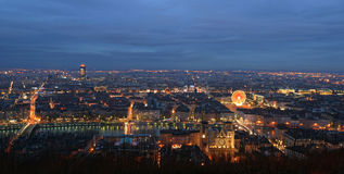 Lyon night. Picture taken at the evening from the up to have a view panoramic of lyon in france stock photography