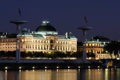 Lyon by night. Photo of lyon by night, universities and Rhône river Stock Photos