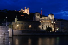 Lyon at night Royalty Free Stock Photos