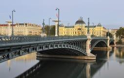 Lyon by night. Bridge and University of Lyon by night Royalty Free Stock Image