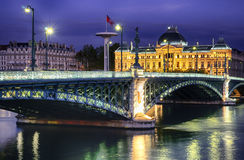 Lyon by night. Bridge and University of Lyon by night Royalty Free Stock Photography