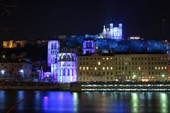 Lyon by night Royalty Free Stock Images