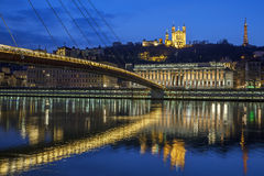 Lyon by night Royalty Free Stock Photo