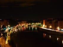Lyon at night. Lyon city centre lit up at night on the river Royalty Free Stock Photos