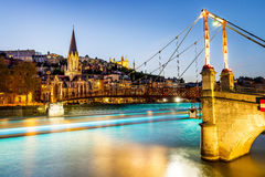 Lyon by night with lights Stock Photo