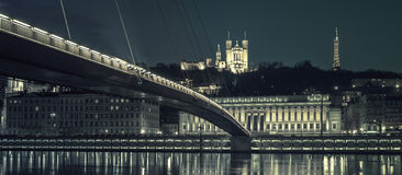Lyon by night, special photographic processing Royalty Free Stock Images