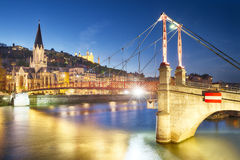 Lyon by nigt with lights Stock Photography