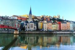 Lyon och floden Saone Royaltyfria Bilder