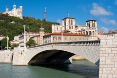 Lyon och Saone flod i sommar Royaltyfri Foto