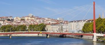 Lyon och Saone River Royaltyfria Foton