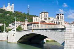 Lyon och Saone River i en sommardag Royaltyfri Bild