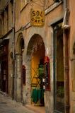 Lyon old street cafe Stock Photography
