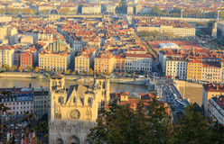 Cathedral Saint-jean and Lyon old town Royalty Free Stock Image