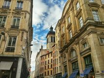 Lyon old town district, Vieux Lyon, France Royalty Free Stock Images