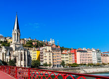 Lyon old town and the Eglise Saint Georges, France Stock Photo