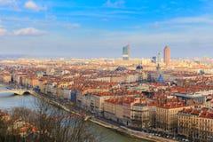 Lyon old town, Lyon,  France. Views of Lyon old town and the new town and the river saone of lyon Stock Images