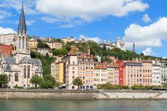 Lyon old town. And the river saone, 17 July, Lyon, France Stock Photography