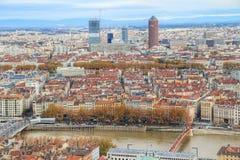 Lyon oldntown från över, Vieux Lyon, Frankrike Arkivfoto