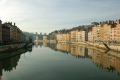 Lyon, opinião do amanhecer sobre o Rhone Fotos de Stock Royalty Free