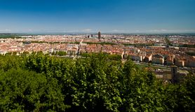 Lyon panorama elevated view on sunny day. Wide panorama of Lyon, France. Elevated view, sunny summer day royalty free stock photo