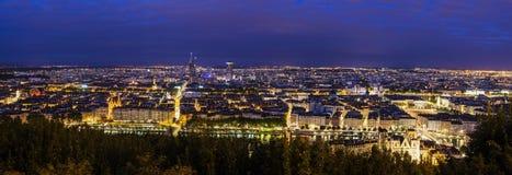 Lyon panorama på natten Royaltyfri Fotografi