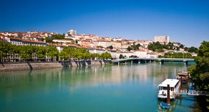 Lyon panorama with river on sunny summer day stock images