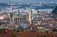 Lyon panoramic view with Cathedrale Royalty Free Stock Photos