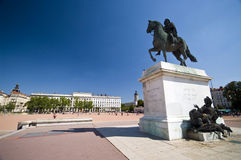 Lyon plaza. The main plaza in Lyon, France. The statue of Luis XIV, ruler of France Stock Photos