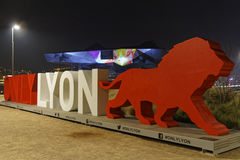Only Lyon, the red lion and Confluence Museum Royalty Free Stock Photos