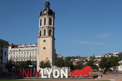 Only Lyon and the red lion Stock Photo