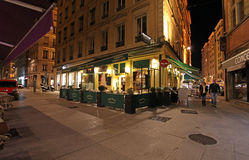 Lyon restaurants by night, France Stock Images