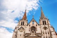 Lyon, Rhône-Alpes, Frankreich - 19. Mai: Giebel die Kirche des Heiligen-Nizier, XIV Jahrhundert UNESCO-Liste Stockfotos