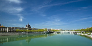 Lyon Rhone river panorama. Panoramic view of the bank of Rhone river in Lyon, France Royalty Free Stock Photo