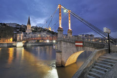 Lyon and river saone at night Royalty Free Stock Image