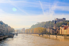 Lyon and the river Soane Stock Photography